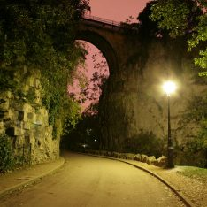 Buttes Chaumont at night